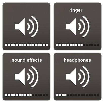 different iOS volume icons